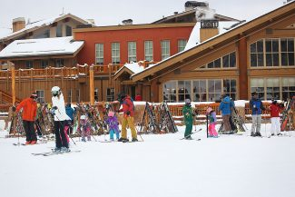 Locals and vacationers gear up to hit the slopes at Silver Lake Lodge at Deer Valley Resort on opening day Saturday, Dec. 3, 2016. The first public chair left promptly at 9 a.m.