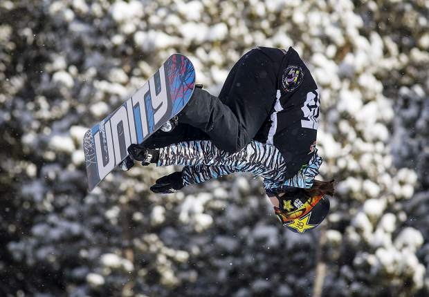 Arielle Gold of the United States competes in the superpipe qualifiers during the Dew Tour event Thursday, Dec. 14, at Breckenridge Ski Resort. Gold qualified in seventh place for Friday's final with a score of 85.66