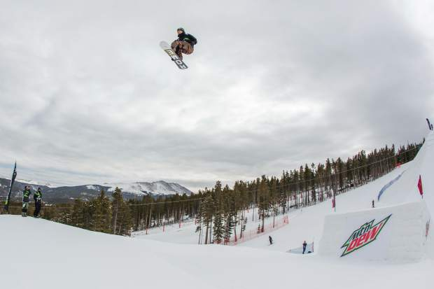 Stale Sandbech of Norway soars during Wednesday's qualification round for the Dew Tour men's snowboard slopestyle competition. Sanbech will enter Friday's final with the top score from Wednesday, a 90.33