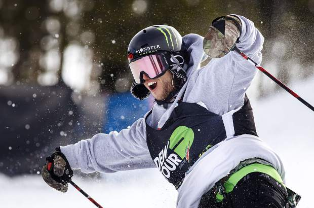 Henrik Harlaut of Sweden reacts following his strong secong run in the slopestyle finals during the Dew Tour event Saturday, Dec. 16, at Breckenridge Ski Resort. Harlaut took home first with a high score of 95.