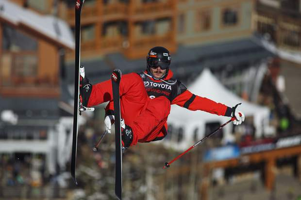 France's Benoit Valentin competes during the first heat of the finals at the U.S. Grand Prix event Friday, Dec. 8, at Copper Mountain.
