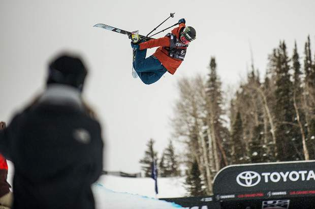 USA competitor Devin Logan does a grab during her second run of the women's superpipe ski qualifiers for the U.S. Grand Prix in Snowmass on Wednesday. Logan ranked fourth overall in qualifiers.