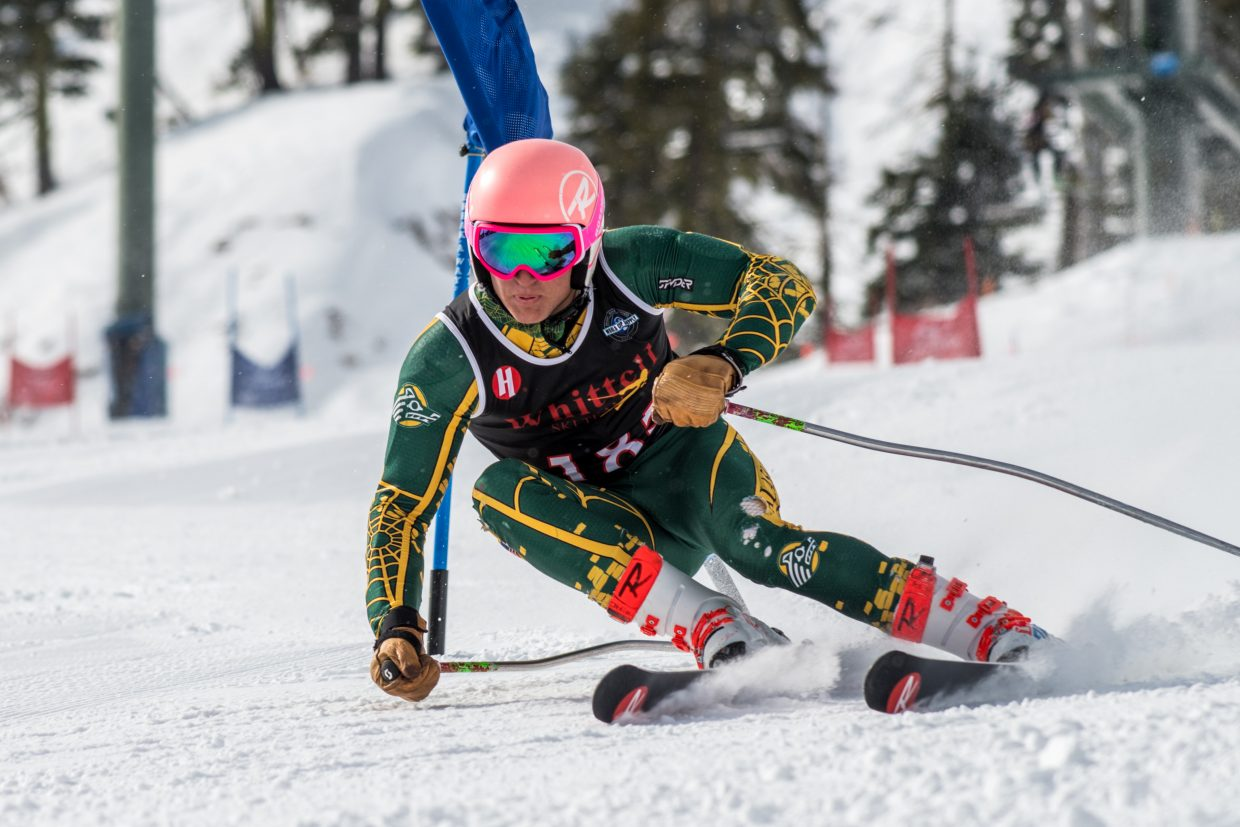 Payton Norton races to a first place finish at the NIAA alpine state championships. For more race photos visit LefrakPhotography.com.
