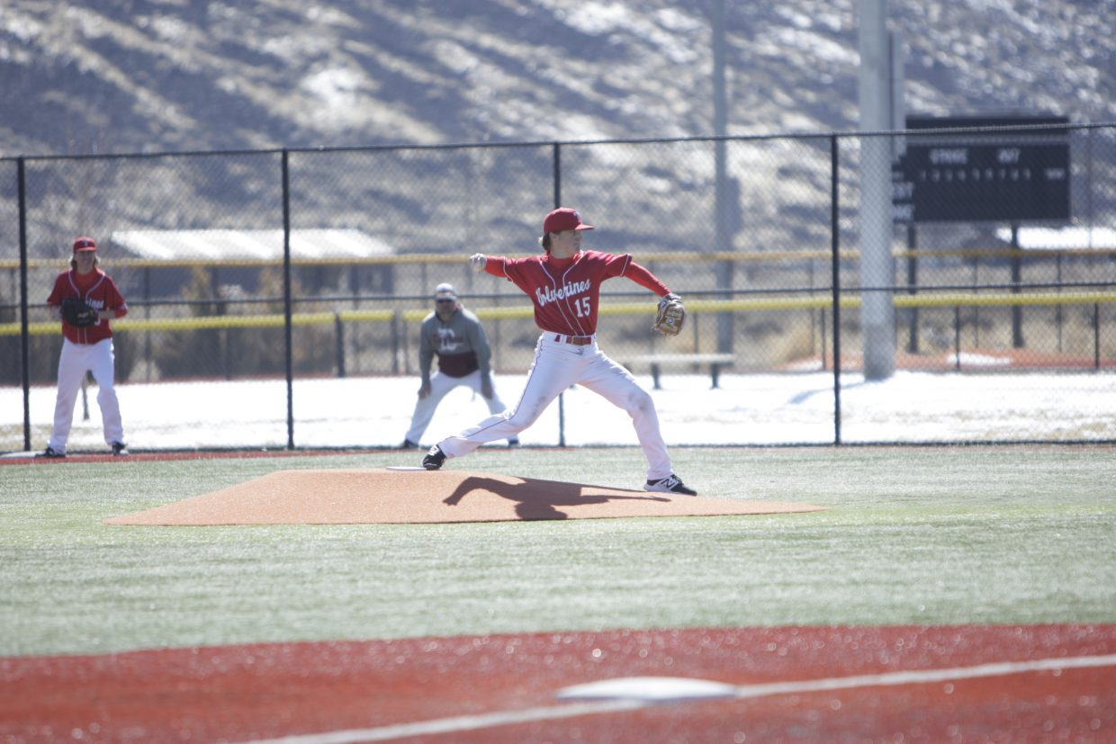 Truckee's Tyler Estabrook delivers a pitch against Dayton in the first game of a doubleheader on Monday, March 19.