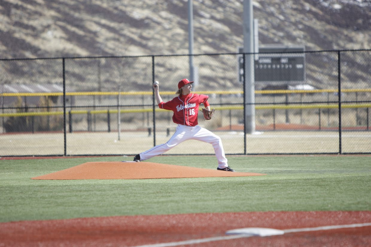 Colin Just delivers a pitch against Dayton on Monday, March 19.