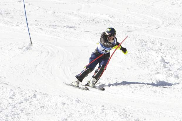 North Tahoe's Magnolia Neu races to a first-place finish at the NIAA state slalom championships on Tuesday, Feb. 27 at Alpine Meadows. Neu's younger sister, Aliza Neu, won giant slalom the following day.