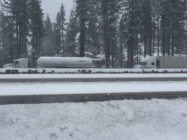 Two semi-trucks are parked along the eastbound side of Interstate 80 in Truckee on Thursday afternoon, March 1.