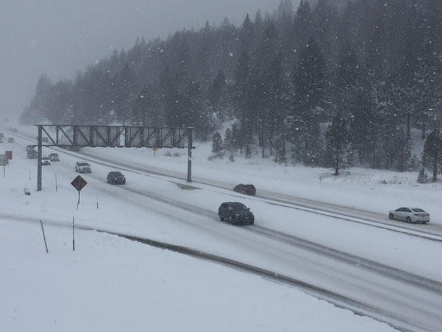 Motorists slowly make their way along Interstate 80 in Truckee on Friday afternoon, March 2.