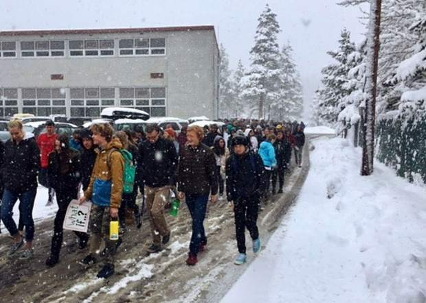 Hundreds of Truckee High School students participated in the National School Walkout on Wednesday, March 14, to protest gun violence and promote safe schools.