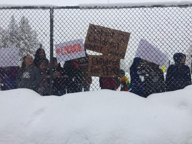 Truckee Elementary School children participated in the National School Walkout on Wednesday, March 14.