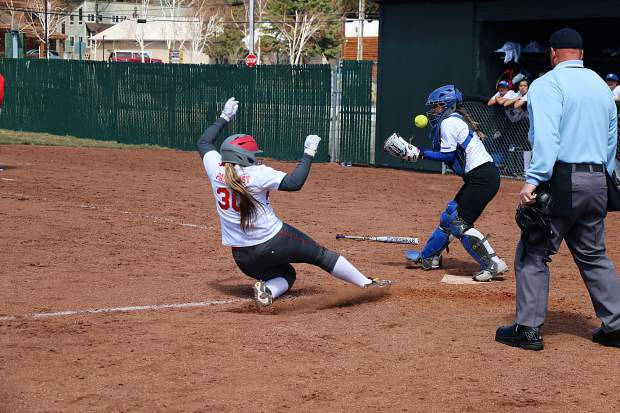 Miranda Parkhurst slides home safely during Truckee's first win of the season on Saturday, April 14.