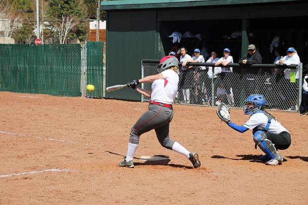 Stephanie Randall hits a double during the second game of a doubleheader on Saturday, April 14.