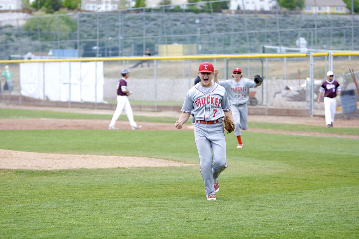 Senior Joel Estabrook celebrates after striking out Elko's final batter on Friday, May 18. Estabrook tossed a four-hit, complete game gem.