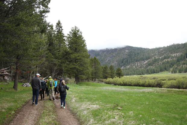 A total of 18 guests and 4 docents explored the Lower Carpenter Valley on Saturday, the first time the public has been on the property since the Truckee Donner Land Trust acquired the land last year.