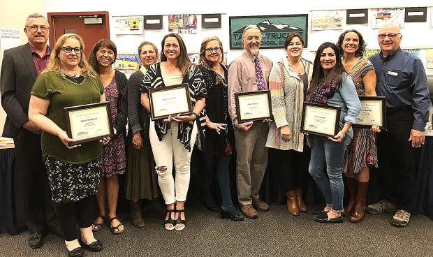 Tahoe Truckee Unified School District Employees of the Year and the Teachers of the Year with the board and superintendent: Superintendent Rob Leri (from left), Dawn Parkhurst, Board President Kim Szczurek, Board Member Dee Dee Driller, Blanca Carrillo, Board Member Kirsten Livak, Mike Mazzie, Board member Cris Hennessey, Ana Ruelas, Nicole Sayegh, Board Clerk Gaylan Larson.