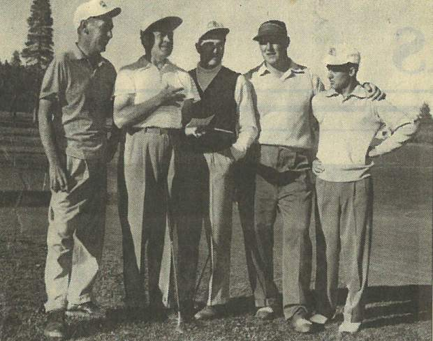 (From left to right) Former Tahoe City Golf Course owner Carl Bechdolt Jr. poses with Bob Hope, Charlie Reznick, and George Bayer, and an unidentified man.