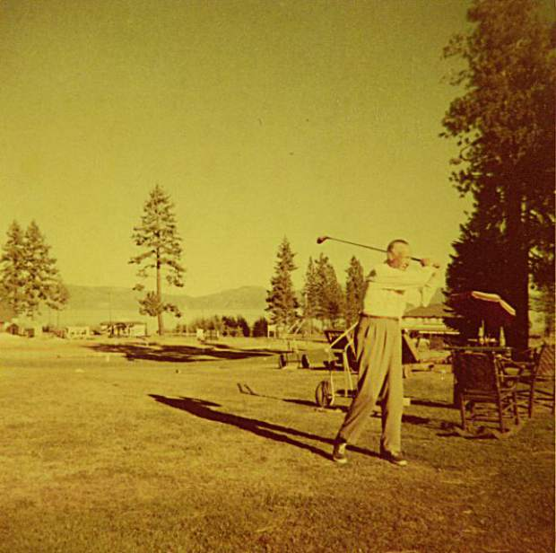 A player winds up for a shot during at Tahoe City Golf Course.