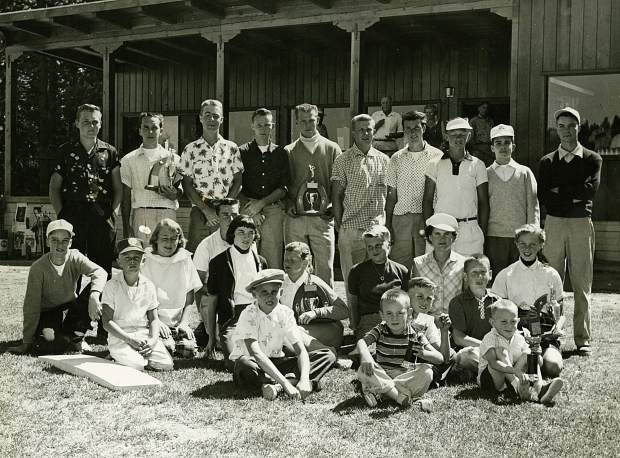 Youngsters pose in front of the clubhouse at Tahoe City Golf Club.