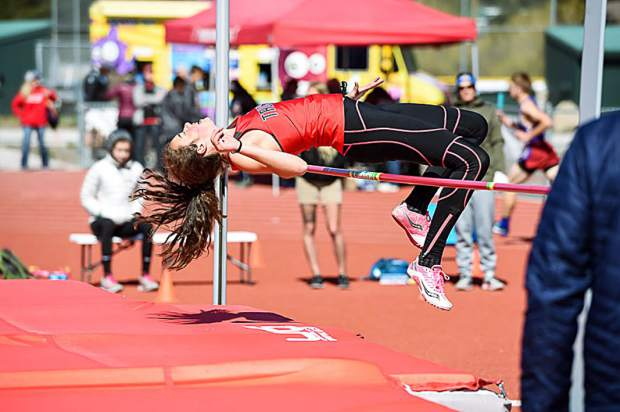 Emily Monson clears 4 feet, 4.00 inches for fifth place at the Bob Shaffer Track Classic.