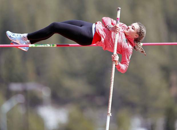 Truckee's Natalie Lang-Ree clears 9 feet, 6.00 inches to win pole vault at the inaugural Bob Shaffer Track Classic on Saturday, April 28.