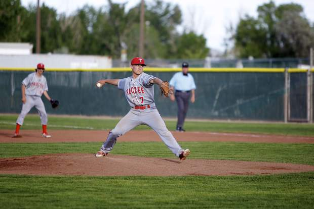 Senior Joel Estabrook fires a pitch during a one-hitter against Churchill County on Thursday, May 10.