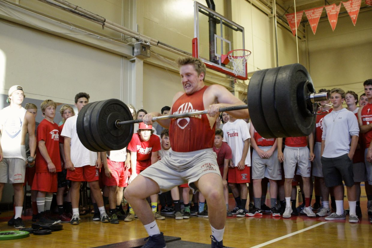 Truckee's Sean Kelly attempts to power clean 235 pounds on Wednesday, June 6, after setting a school record with a 225-pound lift.