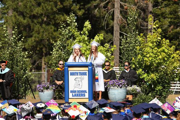 Jillian Blakeman and Jasmine Strydom give the senior class speech.
