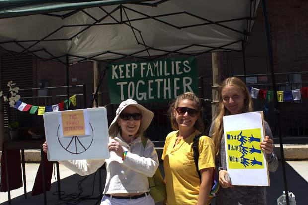 "On Saturday around 300 residents and visitors gathered in downtown Truckee to partake in one of more than 700 events nationwide to speak against President Trump's ""zero tolerance"" immigration policy that separated immigrant families crossing the border illegally."