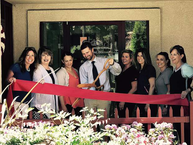 North Tahoe's newest Chamber Member, Skin Cancer & Dermatology Institute, pose during the ribbon cutting ceremony last week.