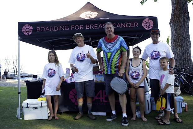 This year's top fundraisers pose after completing the 28-mile Skate the Lake.