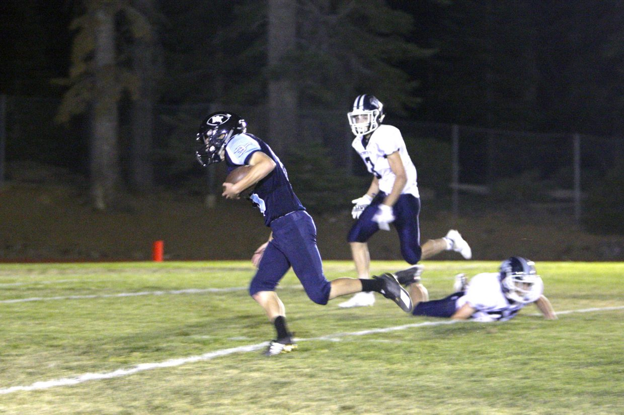 Senior captain Tony Frankenberg gets loose for a long carry against the Bobcats.