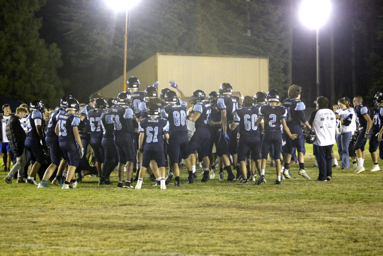 North Tahoe celebrates after taking a 51-14 win over White Pine on Friday, Sept. 28