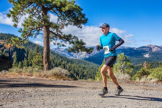 Dennis Crespo, of Truckee, rides to fifth overall, and first in his age group, at the 2018 Great Trail Race. For more photos, visit LefrakPhotography.com