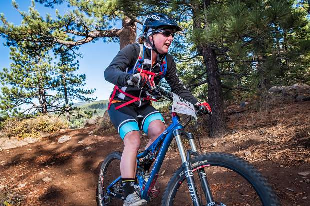Longtime U.S. Ski Team member, World Cup racer and four-time Olympian (2006, 2010, 2014, 2018) Stacey Cook races to first place in the women's Elite Bike distance at the Great Trail Race in 2018. For more photos, visit LefrakPhotography.com