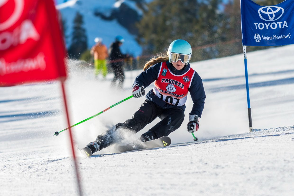 Elsa Pekarek takes fourth place at Alpine Meadows to open the high school racing season. For more alpine photos, visit LefrakPhotography.com.