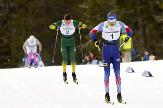 Local skier Peter Holmes races to a first-place finish at the Tahoe Mountain Sports Holiday Sprints.