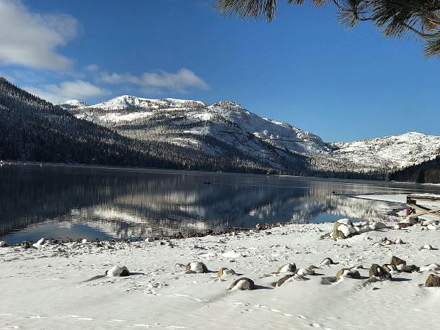 Donner Lake in the snow.