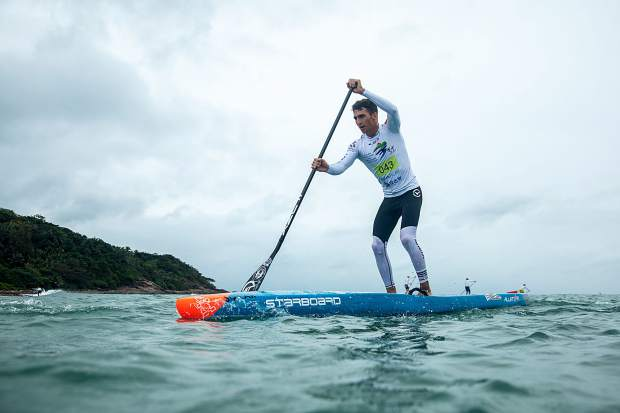 Ryan Funk, who learned to paddle on Donner Lake, race at the World SUP and Paddleboard Championship in Wanning, China.