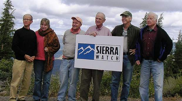 Bill Newsom, far right, and the Sierra Watch board of directors atop Martis Peak.
