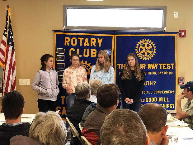 (Left to right) Rowan Bohnet, Sohpia Wellise, Aleksen Thayer and Emma Bragg were selected by the school principal, Hien Larsen, to attend a three day Rotary Eighth Grade Leadership Program, a program where students from clubs throughout district 5190, including Sacramento and Auburn, convene. REGL scholarships to the residential camp are donated by the Truckee Rotary Club.