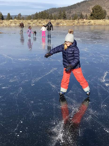 Is pond skating the most ephemeral of all our activities? Charlotte Lecorps and family took advantage of two days of perfect ice at the Glenshire pond before the snows.