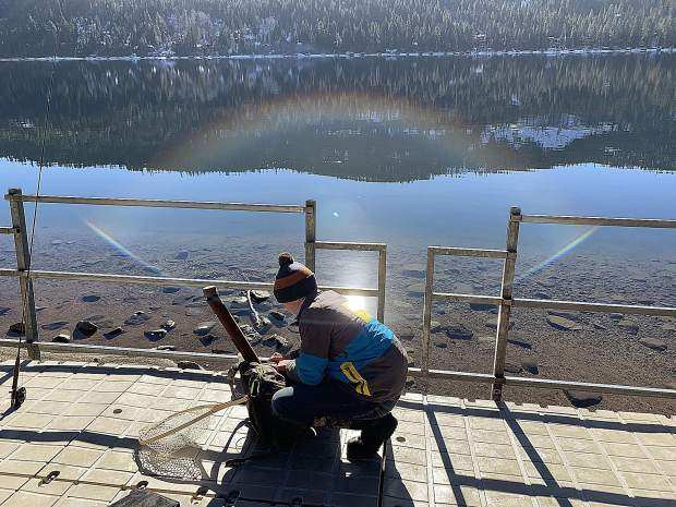 Luke Johnson getting an early start New Years fishing on Donner Lake.