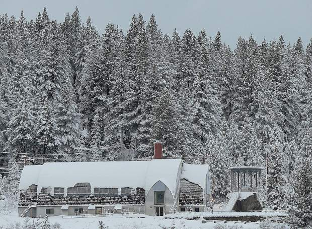 Truckee Veterans Memorial Building after the first blizzard of 2019.