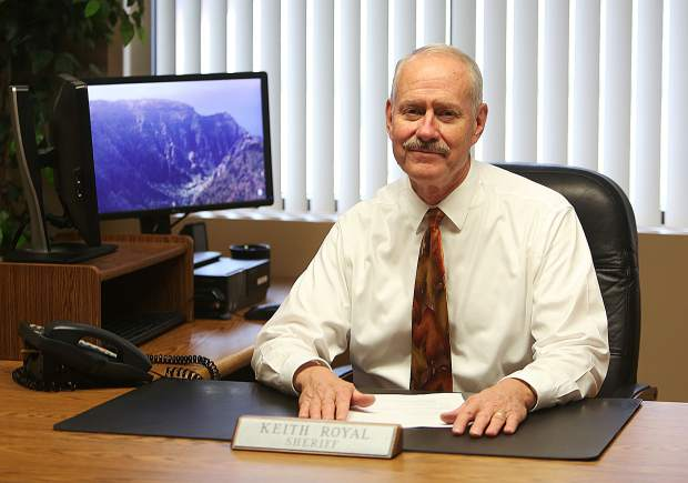 Outgoing Nevada County Sheriff Keith Royal sits at his desk in his second floor office at the Eric Rood Administrative Center.