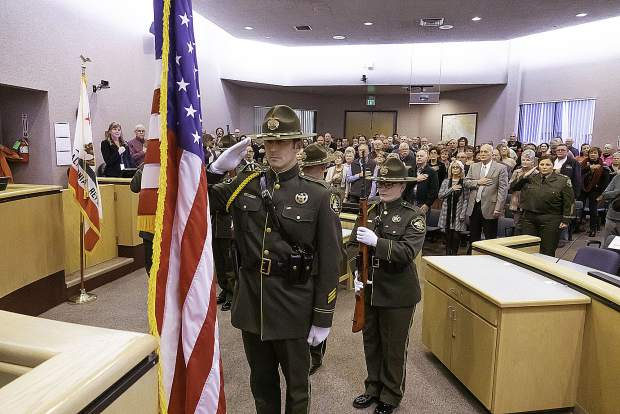 The Nevada County Sheriff's Honor Guard presents the American and California flags and Pledge of Allegiance before elected officials take their oaths of office.