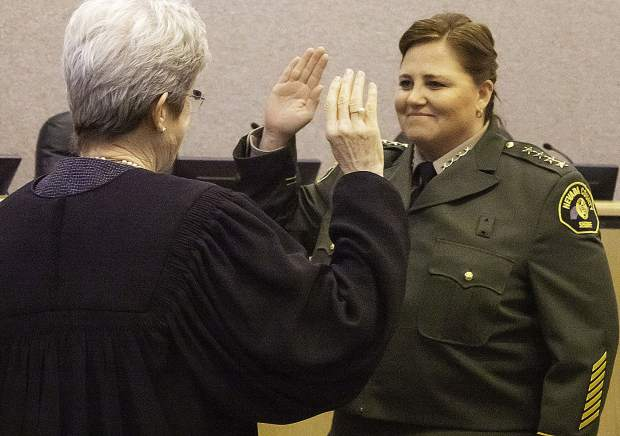 Sheriff Shannan Moon takes the oath of office.