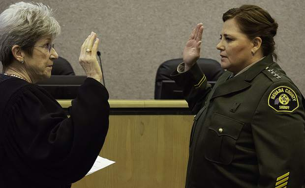Sheriff Shannan Moon, right, is the new sheriff of Nevada County.
