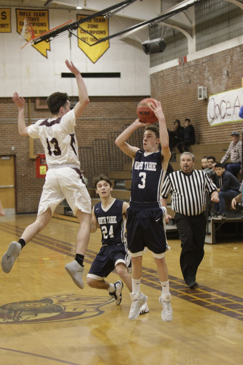 North Tahoe's Cameron McAndrews lines up the game-winning 3-pointer to beat West Wendover.