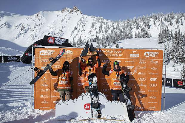Truckee rider Sammy Luebke celebrates a second-place finish with fellow American Blake Hamm (third place)