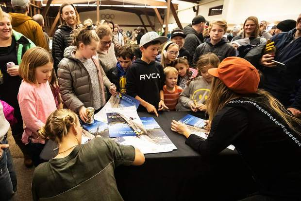 Fans of all ages attended a January session of the speaker series, featuring rock climber Emily Harrington and freeskier Michelle Parker.
